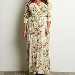 NWT maternity ivory floral wrap tie waist dress
